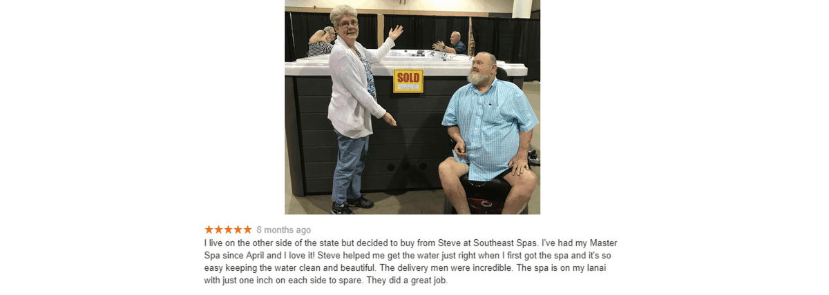 South East Spas testimonial in Florida